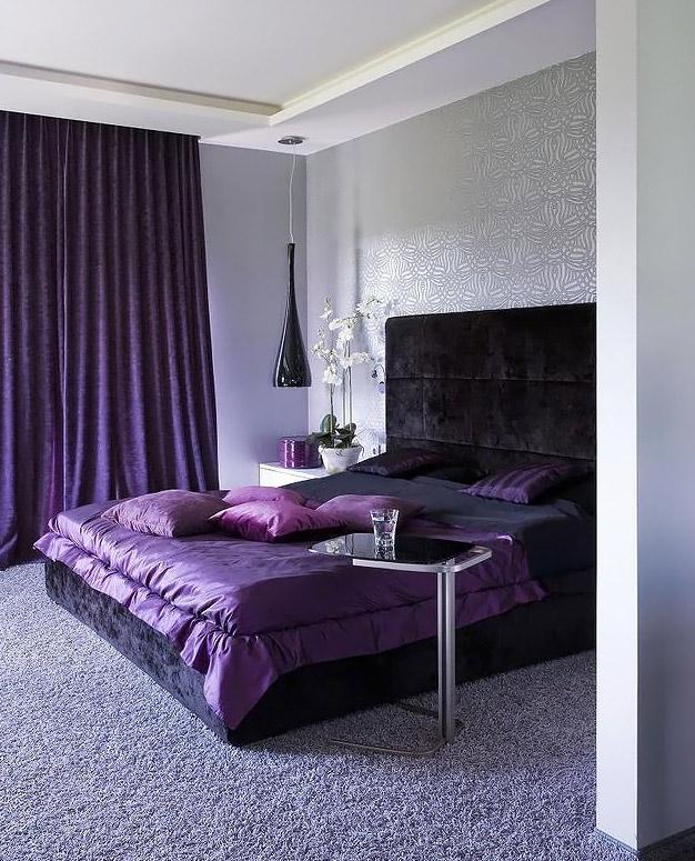 лиловые шторы в интерьере фото